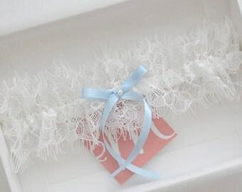 Ivory wedding garter with light blue bow, something blue bridal garter, white and light blue lace garter, chantilly lace garter