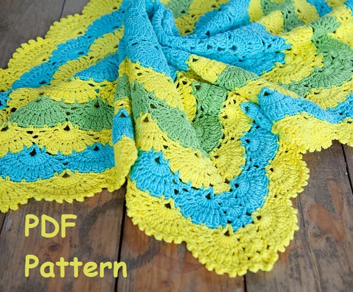 Crochet Lace Shell Stitch Baby Afghan Pattern Square Afghan