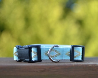 The Aztec: Designer Blue and Gold Dog Collar