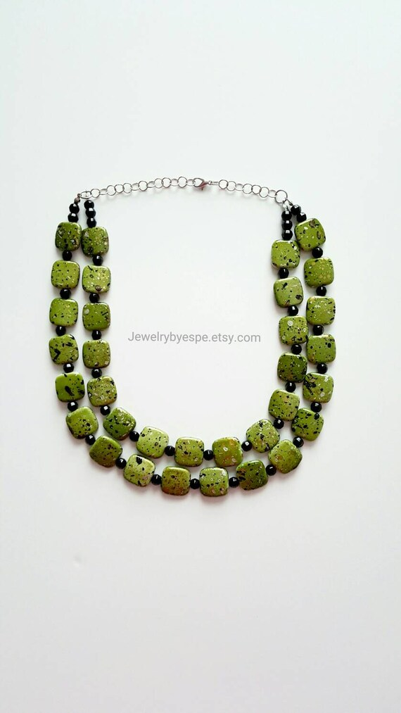 olive necklace green necklace statement necklace layered