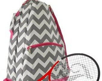 Personalized Pink and Gray Tennis Bag, Tennis, Monogrammed Tennis Bag, Monogrammed Tennis Book Bag, Tennis, Tennis Racket Bag, Sports Bag,
