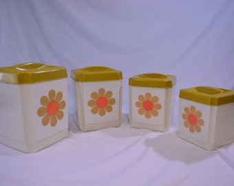 Nesting 1970's Daisy Kitchen Storage Containers * By Sears * All American * Vintage Kitchen * Hippie Home Decor * Hippie Kitchen * Daisy