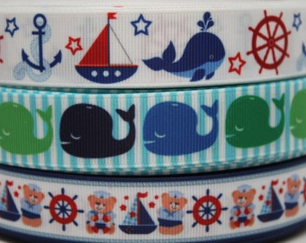 Whale - Sailboat  Ribbon 7/8 Inch Grosgrain Ribbon by the Yard for Hairbows, Scrapbooking, and More!!