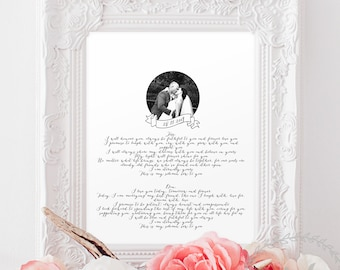 Wedding Vows Print / First Anniversary Photo Personalised Gift Paper / Calligraphy Husband Wife Valentines Gift Paper Wedding Anniversary
