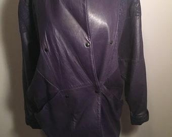 80s Purple Leather Jacket