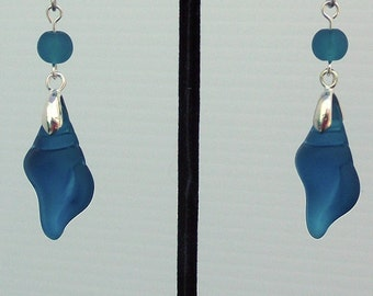 Teal Cultured Sea Glass Conch Shell Earrings