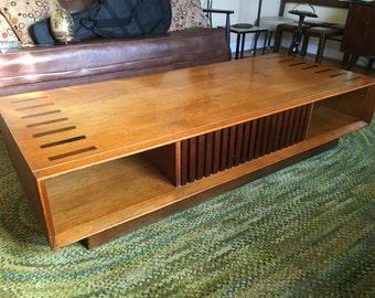 Vintage Large Lane Coffee Table with Storage Walnut with Inlays Mid Century Modern Danish