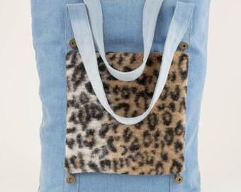BIG SALE, Blue Denim Tote Bag, Customizable Tote Bag With Removable Pockets, Casual Tote, Denim Bag, Denim Shoulder Bag, Leopard Pattern