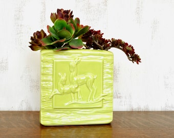 Vintage Aborn Pottery Deer Planter, Square Vase, California Pottery, Yellow Ceramic Planter, Faux Bois,