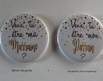 Duo Cadeau Parrain Marraine Veux-tu être mon parrain/ ma Marraine Décapsuleur Magnétique Confettis.