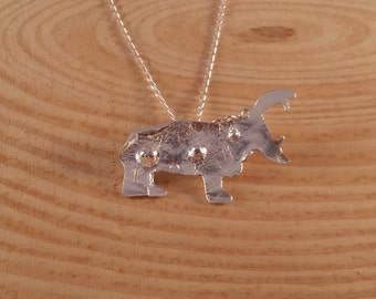 Sterling Silver Reticulated Hippo Necklace