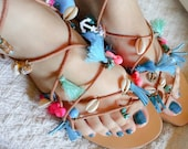 Mermaid Sandals, Gorgona, Gladiator Sandals, Pompom Sandals, Tassel Sandals, Leather Sandals, Boho Sandals, Hippie Sandals, Pom Pom Sandals