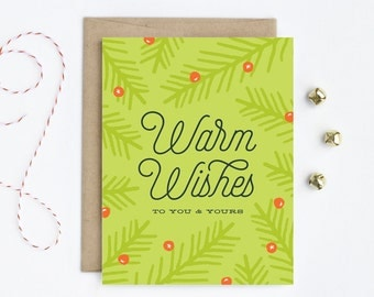 Holiday Card / Christmas Card - Warm Wishes in Fern