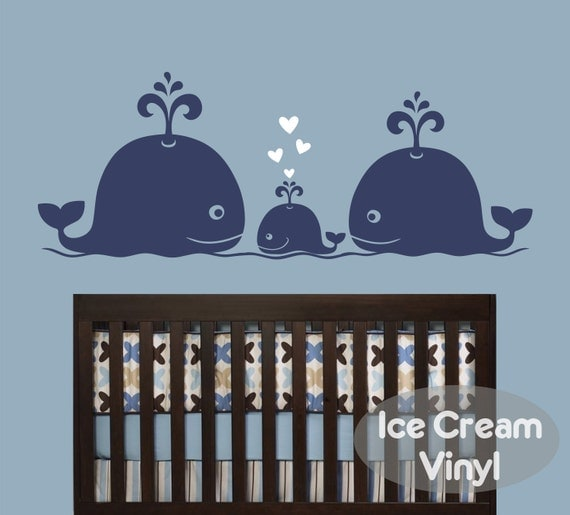Whale Family Vinyl Wall Decal Whale Decal for Girls Boys Nursery Playroom Whale Wall Art Decor
