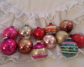 Vintage Set Of 12 Antique Mercury Glass Christmas Ornaments Shabby Chic Holiday Decor