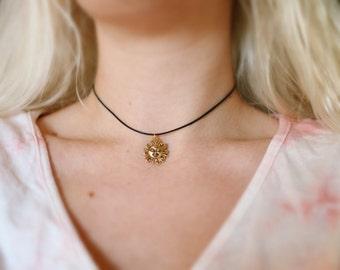 Golden Winking Sun Cotton Choker Necklace, Boho Jewelry, Hippie Necklace, Sun Charm, Adjustable Chokers
