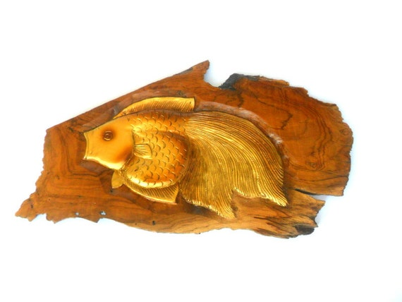 Wood carving fish hand carved natural teak wood wall hanging for Fish wood carving