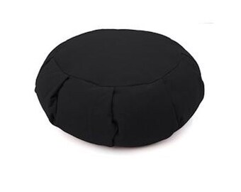 Black Round Zafu COVER Pleated - Sit comfortably - Organic Cotton Cover - Yoga Meditation