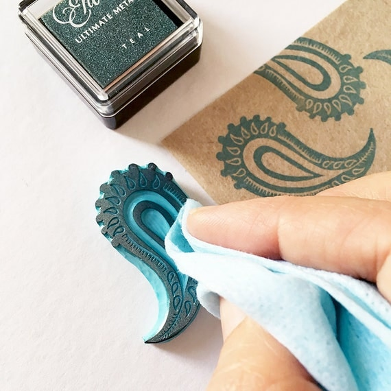 Paisley rubber stamp retro decor hand carved