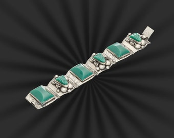 Mexican sterling & green onyx faces bracelet mid century