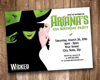 Wicked the Musical Party Invitation *Personalized Digital Printable*