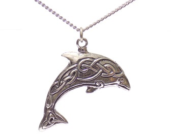 dolphin necklace, dolphin jewelry, birthday gift, gift , pewter dolphin, necklaces, dolphin gifts, celtic dolphin necklace, pewter jewelry