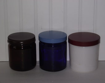 Three extra large vintage glass jars from the 1950's, with freshly primed and painted metal lids.