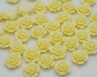 Resin Flower Cabochon Delicate Rose ,20pcs ivory Rose Cabochons - 10mm.
