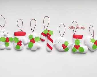 Christmas Tree Ornaments, Christmas ornaments, Set Decorations, Felt ornaments Christmas, set Winter decorations, White decorations