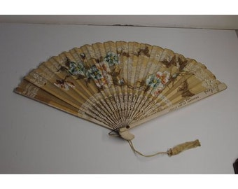 Antique 1908 Rector's RESTAURANT NY BROADWAY Souvenir Hand Fan Wood and Paper