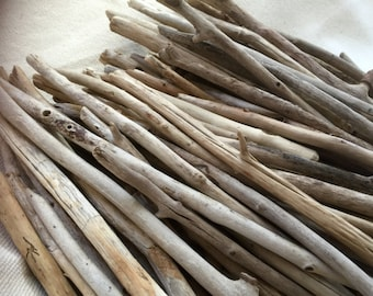 "Bulk Driftwood - QUALITY Surf Tumbled Maine Driftwood - 25 Straight Beach Wood Pieces 12-18"" - starbursts - wreaths - home decor"
