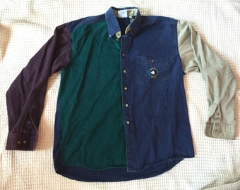 Vintage 90s Mickey Mouse Color Blocked Denim Button Down Men's XL