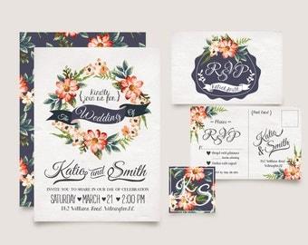 Wedding Invitation Templates/RSVP/Instant Download/Florals