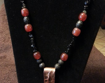 Carnelian/ Lava Necklace with Copper Pendant
