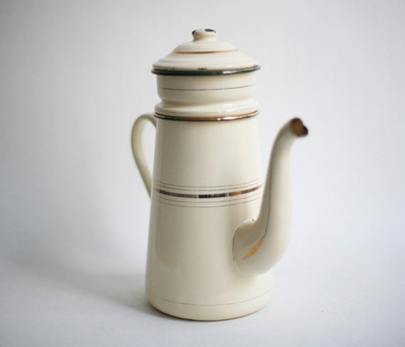 Enamel Kitchen Accessories: French Enamel Coffee Pot French Kitchen Decor French