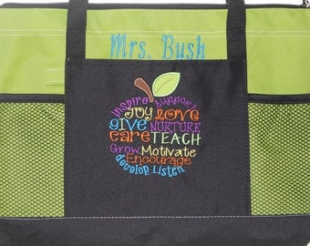 Best Teacher Gift! Embroidered Personalized Teacher Tote Bag; Teacher Appreciation Week