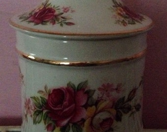 vintage james kent old foley england lided srorage ginger jar caddy rose design SALE