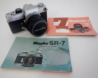 Vintage Minolta SR-7 Camera, 35mm - Rokkar F 1.4, 58 mm lens - collectible, home decor, camera collector, photography, retro photo