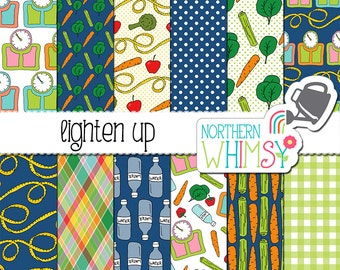 Food Digital Paper Pack - Diet Scrapbook Paper - Healthy Eating Patterns with scales, vegetables, and other diet themes - commercial use