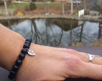 Made With Love Bracelet. Stacking Bracelet. Stretch Bracelet. Beaded Bracelet.