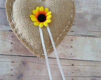 Burlap heart shaped ring bearer pillow with sunflower center / vintage / rustic / country / barn / outdoor / simple / backyard park yellow