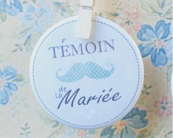 """Badge menthe """"Témoin de la mariée"""" / Mint badge for Bride's witness"""
