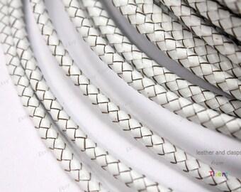 5mm White Genuine Bolo Leather, White Braided Bolo Leather Strap-1 Yard, BP5M-75