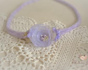 Lavender Newborn tieback. Flower tieback. Newborn Photography Prop.