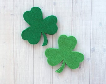 Felt Shamrocks, 8 pieces - Felt Precuts - Wool Blend Felt - St. Patrick's Day
