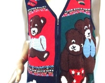 25% OFF Vintage UGLY CHRISTMAS Sweater Vest * Size L . Three Bears . Hand Embroidered . Zip Front . Unisex . Excellent Vintage Condition