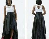 FLASH SALE - 20% OFF Silk Pleated Ruffle Coattail High Low Skirt,  theafricanshop, full skirt, flare skirt, midi skirt, worldwide shipping