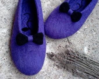 Elegant felted slippers, Women felt clogs, Boiled wool slippers, Felt wool slippers, Womens slippers, Gift for Her, Purple, Wool shoes