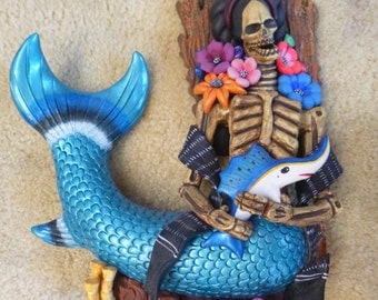 Ceramic sculpture of a skeleton Mermaid with Sword fish, Aguilar Mexican artist.  sculpture
