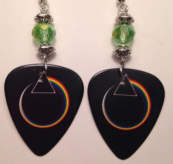 pink floyd guitar pick earrings by auntshelldesigns on etsy. Black Bedroom Furniture Sets. Home Design Ideas